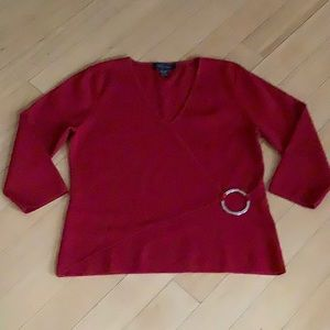Red Ladies' Top by Cable and Gauge